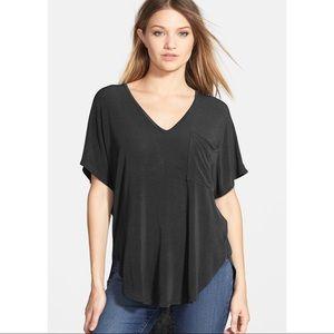LUSH v-neck high low knit pocket drapes tee top L